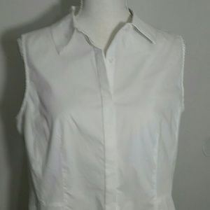 New White button-down collared tunic Tahari 12